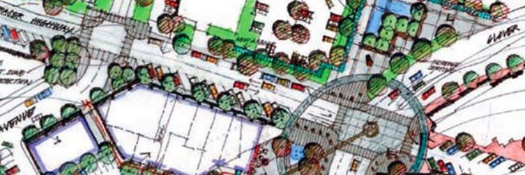 A hand-drawn illustrative concept of what downtown Langley City may look like in the future.